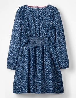 Blue Animal Print Woven Frill Dress
