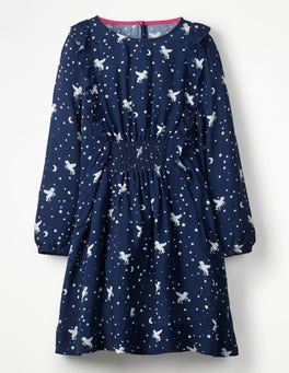 School Navy Unicorn Sky Woven Frill Dress