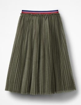 Army Green Pleated Tulle Midi Skirt