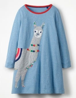 Blue Marl Llama Patchwork Appliqué Dress
