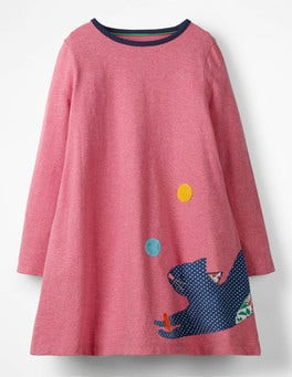 Rose Pink Juggling Cat Patchwork Appliqué Dress