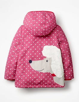 Rose Blossom Pink Poodle Novelty Sherpa-Lined Anorak