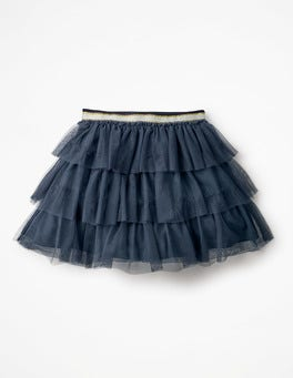 School Navy Tiered Tulle Skirt
