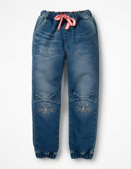 Mid Vintage Cats Jersey Denim Pull-on Trousers