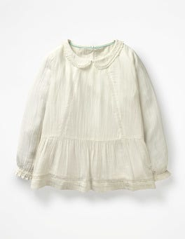 Ecru Lace Pretty Detailed Woven Top