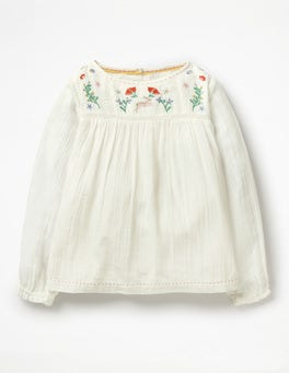 Ecru Floral Pretty Detailed Woven Top