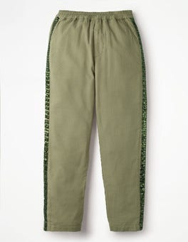 Army Green Sparkle Detail Woven Pants