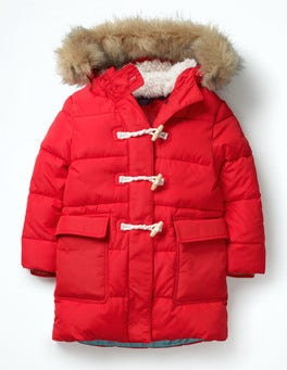 Polish Red Long-line Padded Jacket