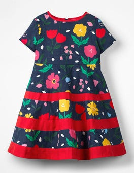 School Navy Painted Flowers Floral Skater Dress