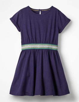 Prussian Blue Sporty Jersey Dress