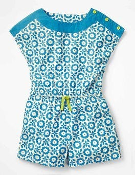 Blue Retro Tile Printed Woven Playsuit