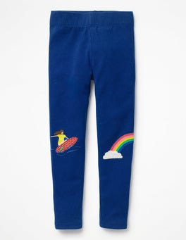 Orion Blue Surfer Girl Appliqué Leggings