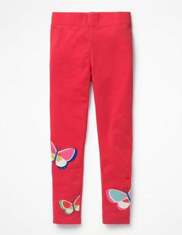 Raspberry Pink Butterflies Appliqué Leggings
