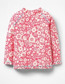 Fluoro Pink Surf Floral Long-sleeved Rash Guard
