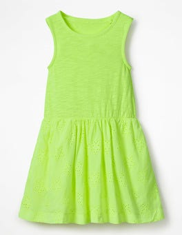 Acid Yellow Jersey Woven Dress