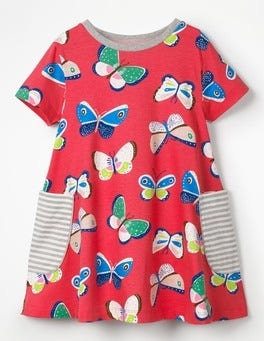 Raspberry Pink Butterflies Colourful Printed Tunic