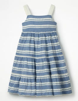 Blue/Ecru Stripe Twirly Tiered Dress