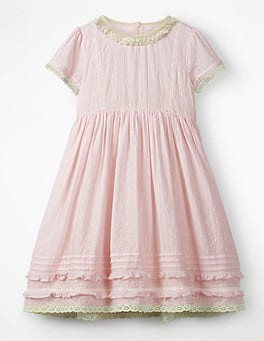 Pink Mist Nostalgic Lace Trim Dress