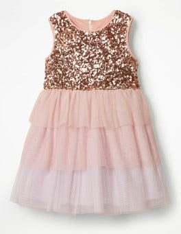 Provence Dusty Pink Sequin Tulle Tiered Dress