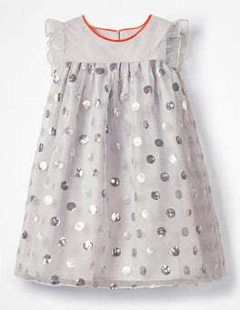 Diamond Dust Grey Sequin Spotty Dress