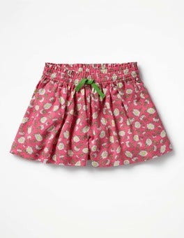 Strawberry Pink Daisies Pretty Woven Culottes