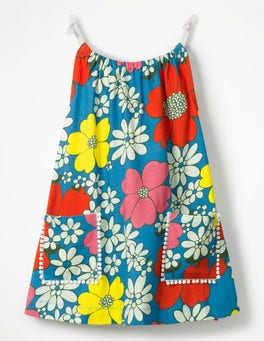 Blue Flower Power Strappy Jersey Tunic