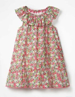 Knockout Pink Vintage Floral Ruffle Neck Dress