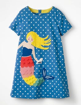 Skipper Blue Spot Mermaid Vacation Appliqué Dress