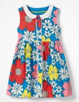 Fluoro Blue Flower Power Nostalgic Collar Dress