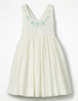 Ivory Pretty Embroidered Bow Dress