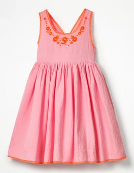 Rosebud Pink Pretty Embroidered Bow Dress
