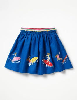 Orion Blue Surfer Girls Fun Appliqué Skirt