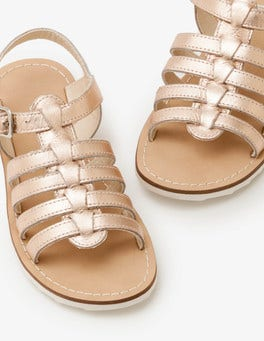Rose Gold Leather Gladiator Sandals