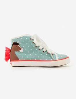 Orkney Blue Horses Appliqué High Tops