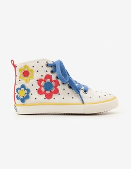 Ecru Flowers Appliqué High Tops