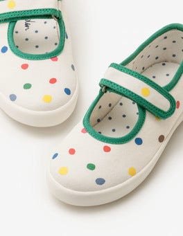 Ecru Painted Spots Canvas Mary Janes