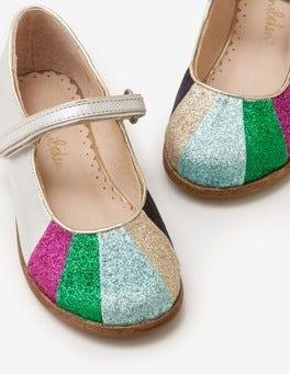 Silver Metallic Rainbow Fun Mary Janes