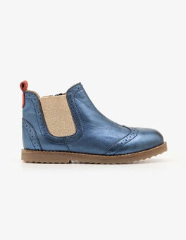 Orion Blue Metallic Leather Chelsea Boots