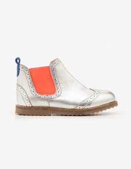 Silver Metallic Leather Chelsea Boots