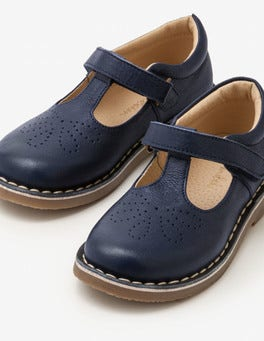 School Navy Leather T-bar Flats