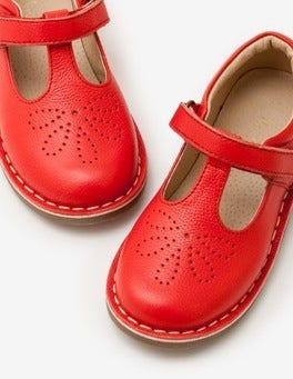 Circus Red Leather T-bar Flats