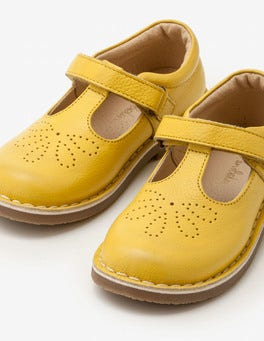 Sweetcorn Yellow Leather T-bar Flats