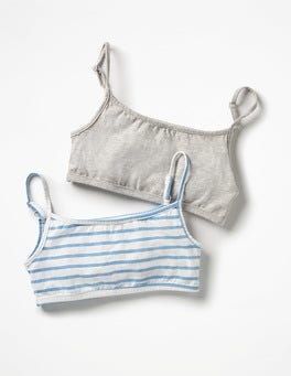 Grey Marl/Breton Stripes 2 Pack Crop Tops