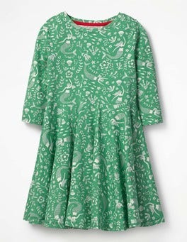 Jungle Green Mermaids Twirly Jersey Dress