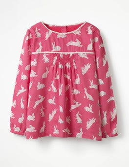 Candy Pink Bunnies Trim Detail Top