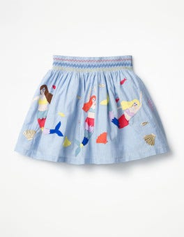 Chambray Mermaids Colourful Appliqué Skirt