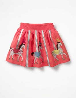 Strawberry Split Pink Horses Colourful Appliqué Skirt
