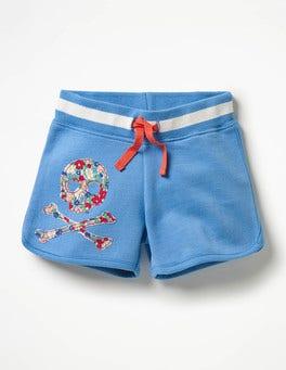 Penzance Blue Skull Appliqué Jersey Shorts