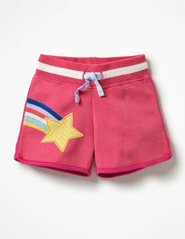 Strawberry Split Pink Stars Appliqué Jersey Shorts