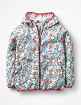 Strawberry Split Pink Floral Packaway Waterproof Jacket